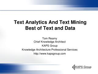 Text Analytics And Text Mining Best of Text and Data