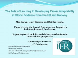 The Role of Learning in Developing Career Adaptability at Work: Evidence from the UK and Norway