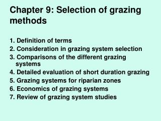Chapter 9: Selection of grazing methods
