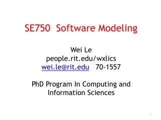 -  PhD from University of Virginia Teach Software Modeling this fall
