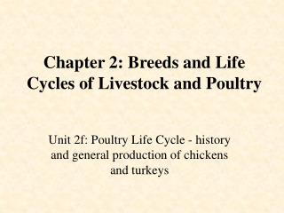 Chapter 2: Breeds and Life Cycles of Livestock and Poultry