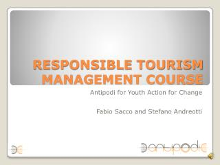 RESPONSIBLE TOURISM MANAGEMENT COURSE
