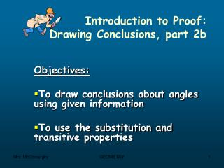 Introduction to Proof:   Drawing Conclusions, part 2b
