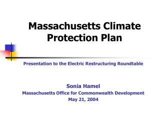 Massachusetts Climate Protection Plan