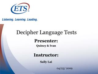 Decipher Language Tests