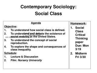 Contemporary Sociology:  Social Class