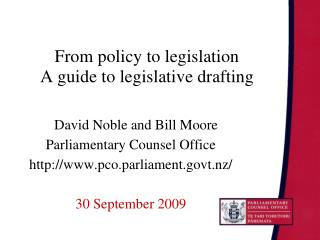 From policy to legislation  A guide to legislative drafting