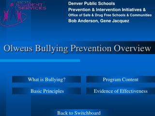 Olweus Bullying Prevention Overview