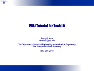 Wiki Tutorial for Tech Lit