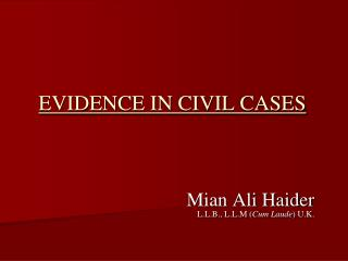EVIDENCE IN CIVIL CASES