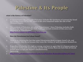 Palestine & Its People