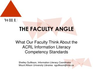 THE FACULTY ANGLE