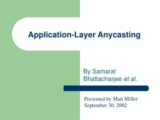 Application-Layer Anycasting