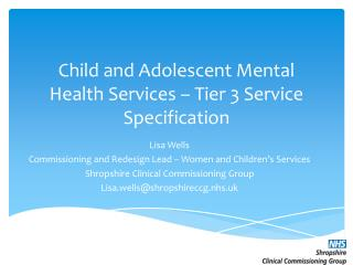 Child and Adolescent Mental Health Services – Tier 3 Service Specification