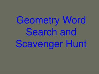 Geometry Word Search and Scavenger Hunt