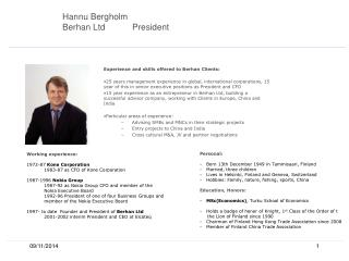 Hannu Bergholm Berhan Ltd President