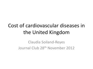 Cost of cardiovascular diseases in the United Kingdom