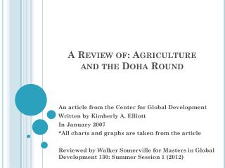 A Review of: Agriculture and the Doha Round