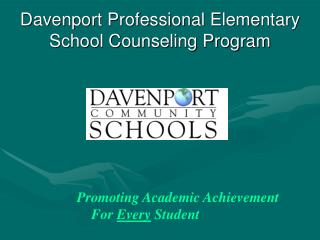 Davenport Professional Elementary School Counseling Program