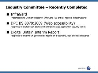 Industry Committee – Recently Completed