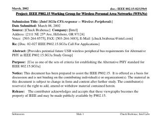 Project: IEEE P802.15 Working Group for Wireless Personal Area Networks (WPANs) Submission Title:  [ Intel SG3a CFA resp