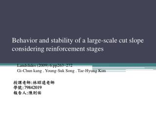 Behavior and stability of a large-scale cut slope considering reinforcement stages
