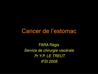 Cancer de l'estomac