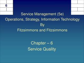 Chapter – 6 Service Quality