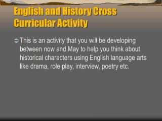 English and History Cross Curricular Activity