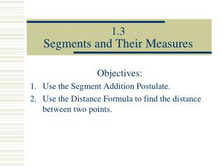 1.3 Segments and Their Measures