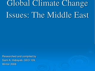 Global Climate Change Issues: The Middle East
