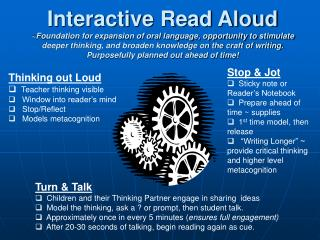 Interactive Read Aloud Foundation for expansion of oral language, opportunity to stimulate deeper thinking, and broaden