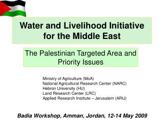 Water and Livelihood Initiative for the Middle East