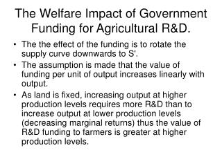The Welfare Impact of Government Funding for Agricultural RD.