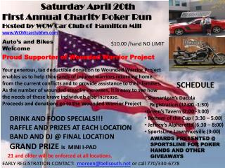 Saturday April 20th First Annual Charity Poker Run Hosted by WOW Car Club of  Hamilton Mill