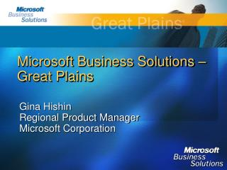 Microsoft Business Solutions    Great Plains
