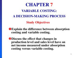 Explain the difference between absorption   costing and variable costing. Discuss the effect that changes in production