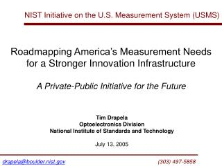 NIST Initiative on the U.S. Measurement System (USMS)