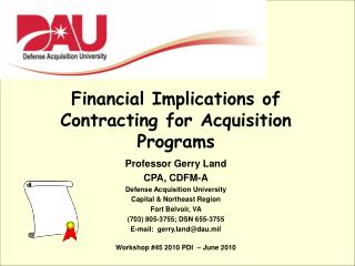 Financial Implications of Contracting for Acquisition Programs