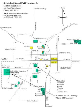 Sports Facility and Field Locations for Clinton High School 600 East Clinton Street