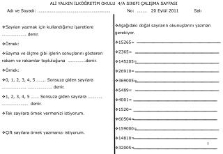 Ppt Ali Yalkin Ilkogretim Okulu 4 A Sinifi Calisma Sayfasi