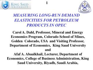 Measuring  Long-Run Demand Elasticities for Petroleum Products in  OPEC