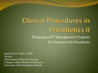 Clinical Procedures in Prosthetics II