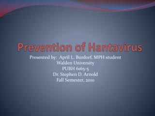 Prevention of Hantavirus