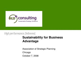 Sustainability for Business Advantage