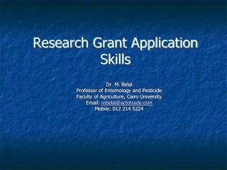 Research Grant Application Skills