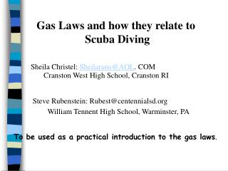 Gas Laws and how they relate to  Scuba Diving