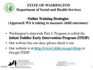 STATE OF WASHINGTON Department of Social and Health Services