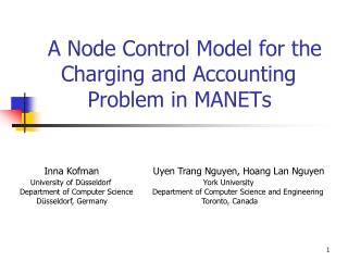 A Node Control Model for the       Charging and Accounting          Problem in MANETs