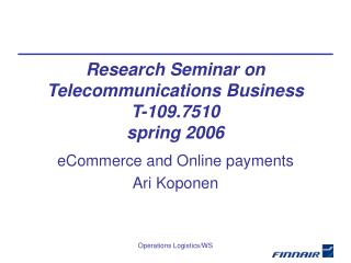 eCommerce and Online payments Ari Koponen